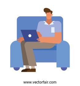 Isolated businessman cartoon with laptop on chair vector design