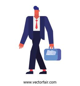 Isolated businessman cartoon with suitcase vector design