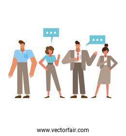 Group of businesspeople with communication bubbles vector design