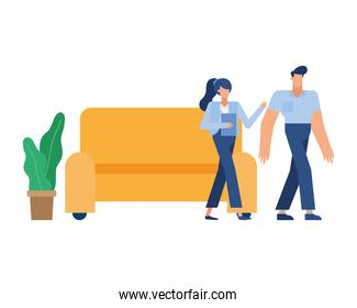 Businessman and businesswoman in front of couch vector design
