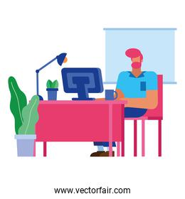 Isolated businessman cartoon with computer at desk vector design