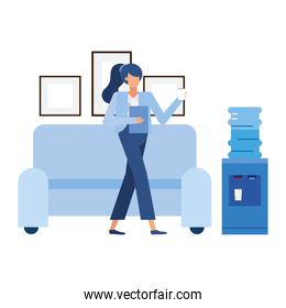 businesswoman cartoon in front of couch vector design