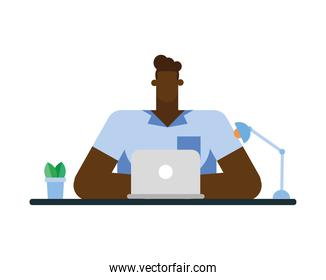 Isolated businessman cartoon with laptop at desk vector design