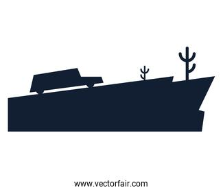 silhouette car on mountain with cactus vector design