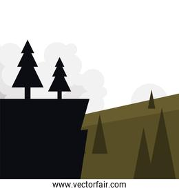 pine trees on cliff in front of landscape vector design
