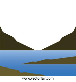 lake and mountains landscape vector design