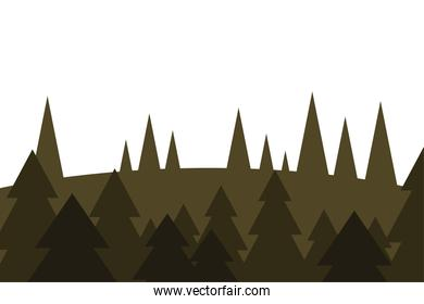 pine trees on mountain vector design