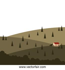 house at mountain with pine trees landscape vector design