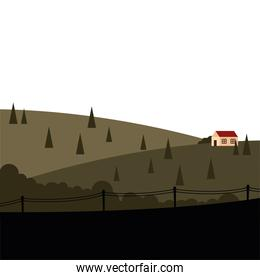 house at mountain with pine trees and fence landscape vector design