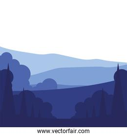 pine trees with clouds landscape vector design