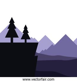 pine trees on cliff in front of mountains landscape vector illustration