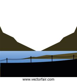 lake mountains and fence landscape vector design