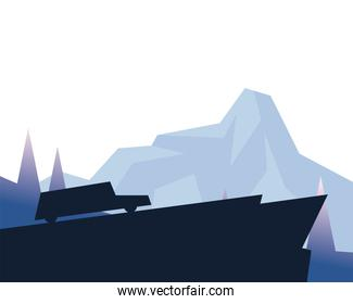 silhouette car on mountain in front of landscape vector design