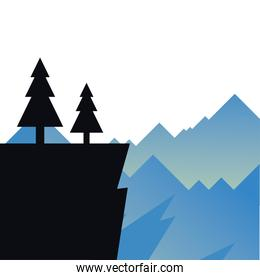pine trees on cliff in front of mountains landscape vector design