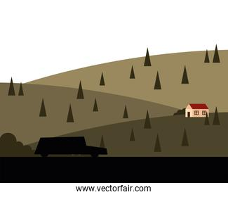 car shilhouette and house at mountain with pine trees landscape vector design