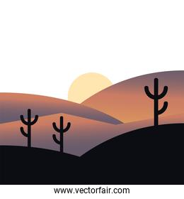 sun over mountains and cactus silhouette landscape vector design