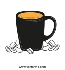 Isolated coffee mug with beans vector design