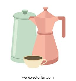 coffee cup and pots vector design