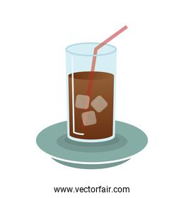 iced coffee glass vector design