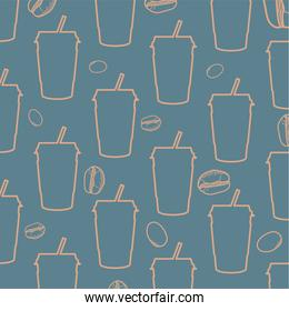 coffee mugs and beans background vector design