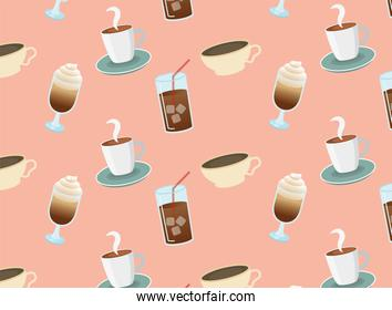 iced coffee glasses and cups background vector design
