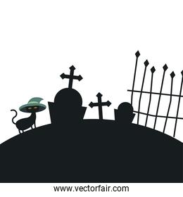 Halloween cat with hat at cemetery vector design