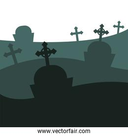 graves with crosses vector design