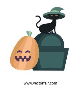 Halloween cat with hat on grave and pumpkin vector design