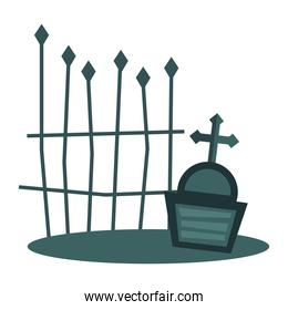 grave with cross and gate vector design