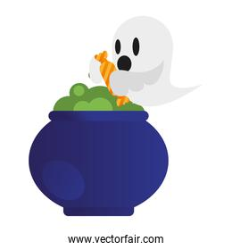 Halloween ghost cartoon with witch bowl vector design