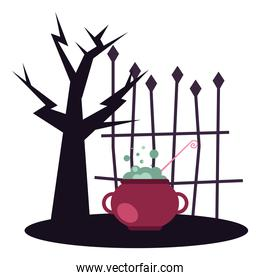 Halloween tree with witch bowl vector design