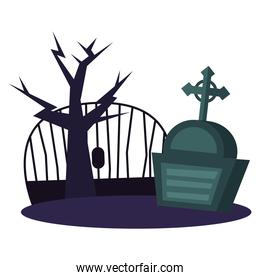grave with cross and gate vector illustration