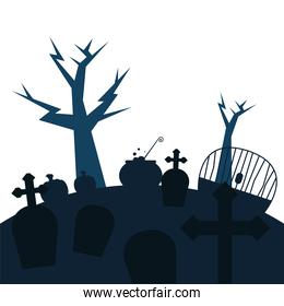 graves with crosses and trees vector design