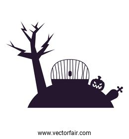 Halloween tree with gate and pumpkin vector design
