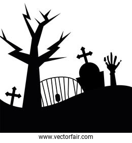 Halloween tree grave and zombie hand vector design