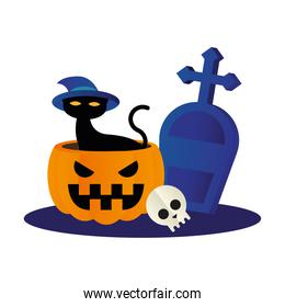 Halloween cat with hat on pumpkin with grave vector design