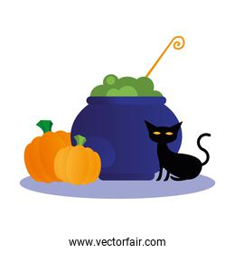 Halloween cat with witch bowl vector design