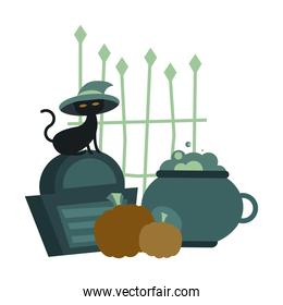 Halloween cat with hat on grave with pumpkins vector design