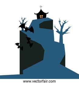 Halloween house trees and bats vector design