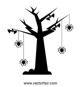 Halloween tree with spiders and bats vector design
