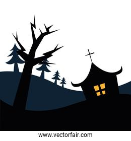 Halloween house and tree vector design