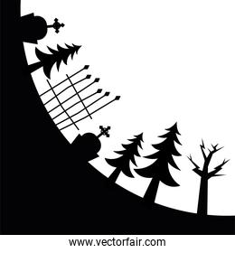 Halloween cemetery pine trees and gate vector design