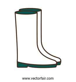 garden boots line and fill style icon vector design