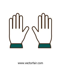 garden gloves line and fill style icon vector design