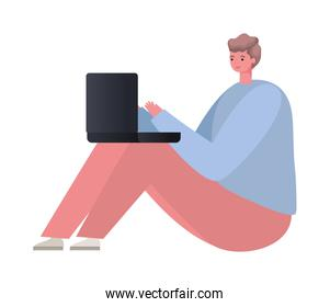 seated man with laptop working vector design