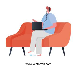 Man with laptop on couch working vector design