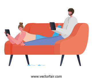 Man and woman with tablet on couch working vector design