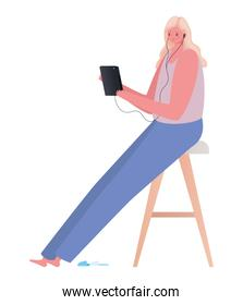 seated blond woman with tablet on chair working vector design