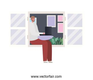 Man with laptop working vector design