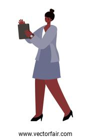black woman with tablet working vector design